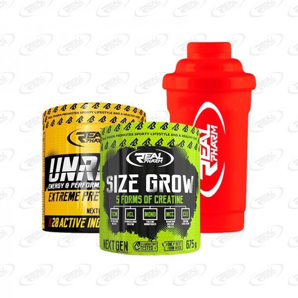 Zestaw Real Pharm Unreal 360g + Size Grow - 675g + Shaker 600 ml Czerwony